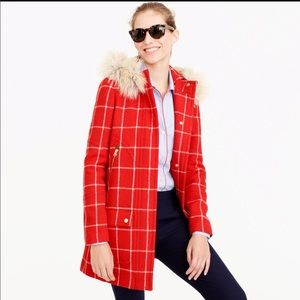 J Crew Chateau red check wool parka